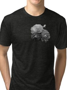 Chic Black and White, Monochrome Roses Tri-blend T-Shirt