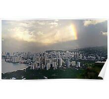 Rainbow Over Honolulu Poster