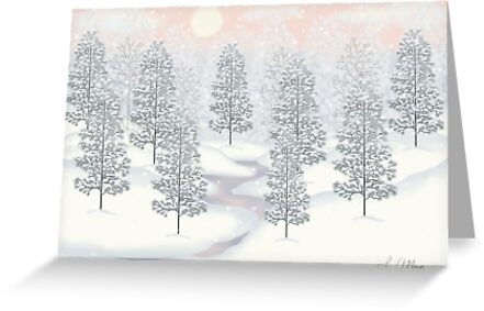 Snowy Day Winter Scene Print by Lallinda