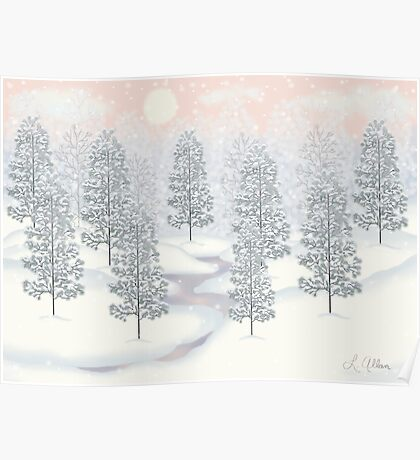 Snowy Day Winter Scene Print Poster