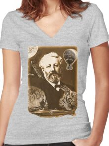 Jules Verne Tribute (natural creme white) Women's Fitted V-Neck T-Shirt