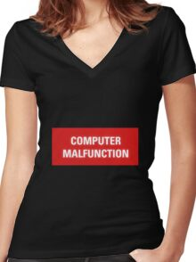 2001 A Space Odyssey - HAL 9000 Computer Malfunction Women's Fitted V-Neck T-Shirt