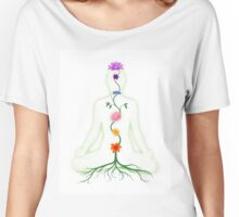 Meditating Woman with Chakras Shown as Flowers art photo print Women's Relaxed Fit T-Shirt