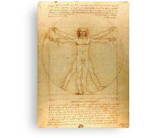 Iconic Leonardo da Vinci Vetruvian Man Canvas Print