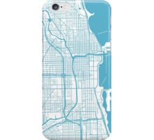 Chicago Map - Baby Blue Inverted iPhone Case/Skin