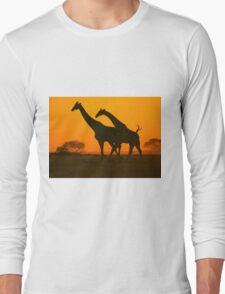 Giraffe Golden Run - African Wildlife Background Long Sleeve T-Shirt