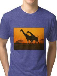 Giraffe Golden Run - African Wildlife Background Tri-blend T-Shirt