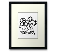 2 funny little sweet cute dogs couple team buddies Framed Print