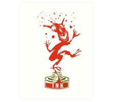 Red Ink Bottle Imp Art Print