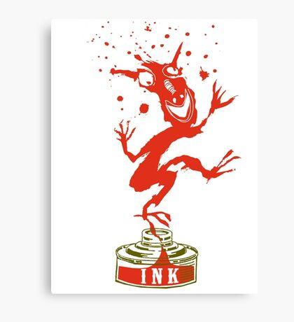 Red Ink Bottle Imp Canvas Print