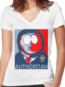 Respect my Authoritah Women's Fitted V-Neck T-Shirt