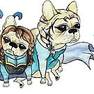 French Bulldog dressed as Anna and Elsa by Liddle-Ideas