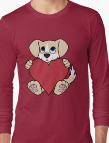 Valentine's Day Tan Dog with Blaze & Red Heart Long Sleeve T-Shirt