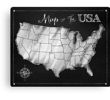 Map of the USA Chalkboard art US Map Canvas Print