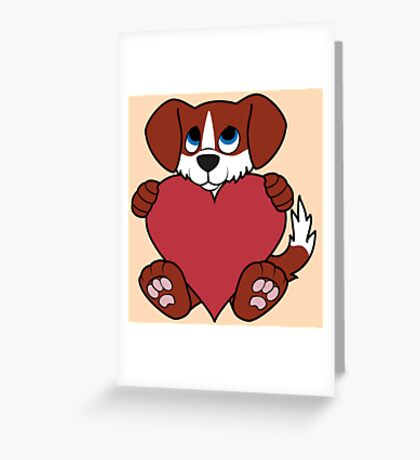 Valentine's Day Red Dog with Blaze & Red Heart Greeting Card