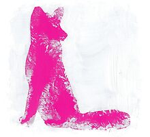 Fuchsia Finger Painted Arctic Fox by VanciesEtsy