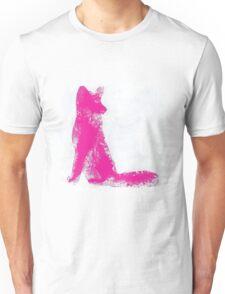 Fuchsia Finger Painted Arctic Fox Unisex T-Shirt