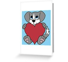 Valentine's Day Gray Dog with Blaze & Red Heart Greeting Card