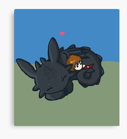 Toothless Hug Canvas Print