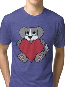 Valentine's Day Gray Dog with Blaze & Red Heart Tri-blend T-Shirt