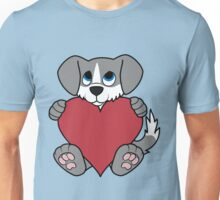 Valentine's Day Gray Dog with Blaze & Red Heart Unisex T-Shirt