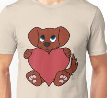 Valentine's Day Red Dog with Red Heart Unisex T-Shirt