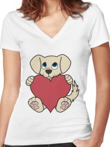 Valentine's Day Tan Dog with Red Heart Women's Fitted V-Neck T-Shirt