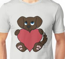 Valentine's Day Chocolate Dog with Red Heart Unisex T-Shirt