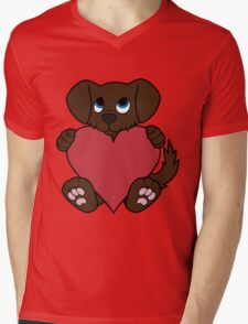Valentine's Day Chocolate Dog with Red Heart Mens V-Neck T-Shirt