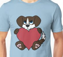 Valentine's Day Chocolate Dog with Blaze & Red Heart Unisex T-Shirt