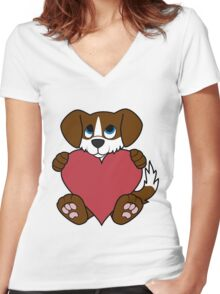 Valentine's Day Brown Dog with Blaze & Red Heart Women's Fitted V-Neck T-Shirt
