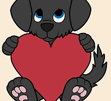 Valentine's Day Black Dog with Red Heart by Grifynne