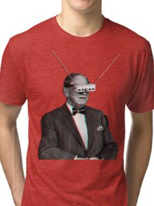Old Man Tv Glasses (3D vintage effect) Tri-blend T-Shirt