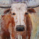 Longhorn Steer Original Painting by Gray Artus