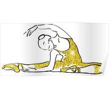 vector sketch of girls ballerina standing. gold texture Poster