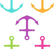 Anchors - aqua blue, purple, hot pink, green and yellow by Mhea