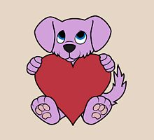 Valentine's Day Purple Dog with Red Heart Unisex T-Shirt