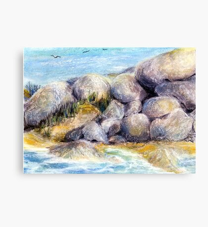 By the Boulders at High Tide Pastel Painting Canvas Print