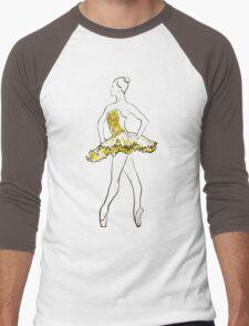 vector sketch of girls ballerina standing. gold texture Men's Baseball ¾ T-Shirt