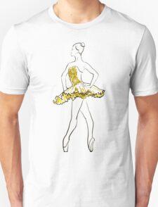 vector sketch of girls ballerina standing. gold texture Unisex T-Shirt