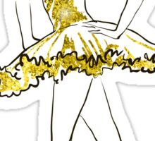 vector sketch of girls ballerina standing. gold texture Sticker