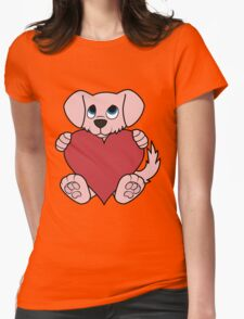 Valentine's Day Pink Dog with Red Heart Womens Fitted T-Shirt