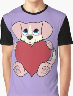 Valentine's Day Pink Dog with Blaze & Red Heart Graphic T-Shirt