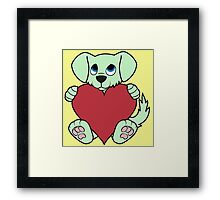 Valentine's Day Green Dog with Red Heart Framed Print