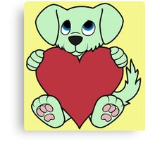 Valentine's Day Green Dog with Red Heart Canvas Print