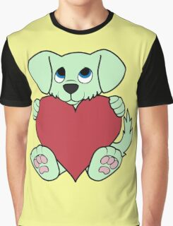 Valentine's Day Green Dog with Red Heart Graphic T-Shirt
