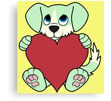 Valentine's Day Green Dog with Blaze & Red Heart Canvas Print