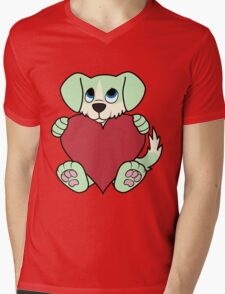 Valentine's Day Green Dog with Blaze & Red Heart Mens V-Neck T-Shirt