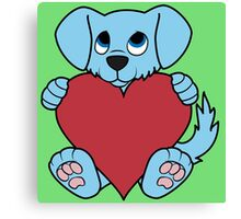 Valentine's Day Blue Dog with Red Heart Canvas Print
