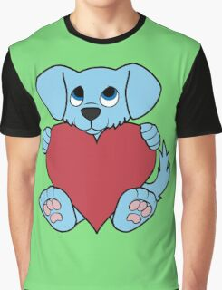 Valentine's Day Blue Dog with Red Heart Graphic T-Shirt